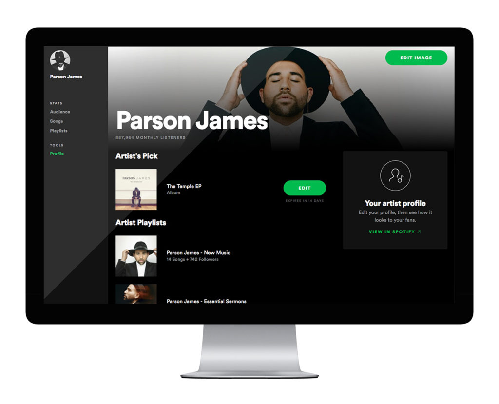 Spotify for Artists edit